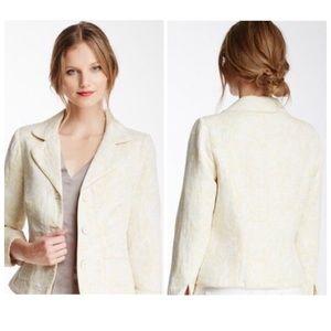 Matty M Yellow Floral Blazer Pockets Buttons Sz S